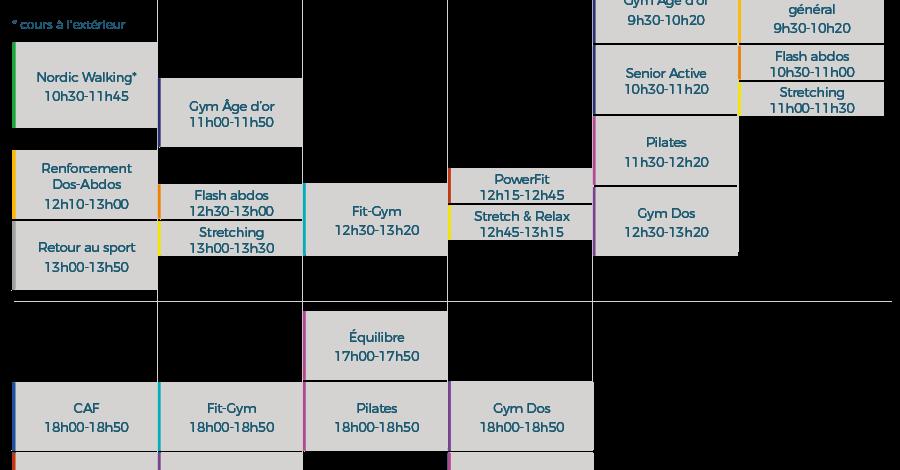 La Lignière — Horaires des cours collectifs à la rentrée 2019