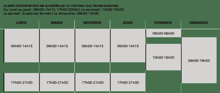 La Lignière — Horaires d'ouverture de la salle d'entraînement à la rentrée 2019